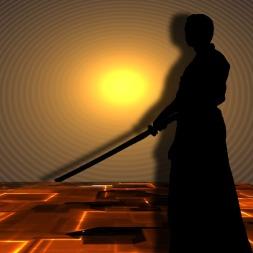 Samurai swordsman in silhouette