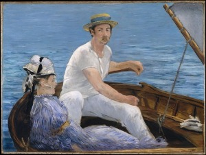 Monet painting of man and woman in a boat