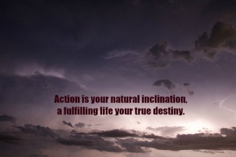 "Poster saying ""Action is your natural inclination, a fulfilling life your true destiny"""