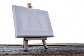 Empty canvas on easel