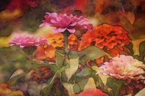Pink and orange zinnias in impressionist style