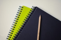 2 spiral notebooks, one lime green and one black