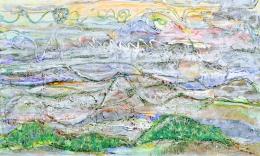 Misty pastel hills