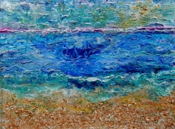 Painting of plue water with brown sand