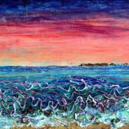 Blue waves with pink and blue sky