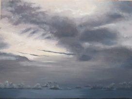 Painting of sky in white and grey