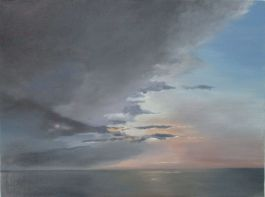 Painting of grey clouds over pink sky