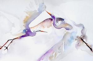 Egrets taking flight purple and blue watercolor on white