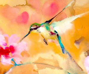Hummingbird in green white and Aqua on yellow and pink background