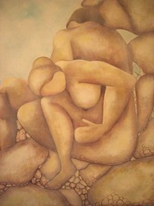 Painting of human figures in shades of brown