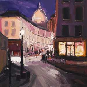 night scene with curved road in Montmartre