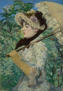 Painting by Manet of a woman with a parasol