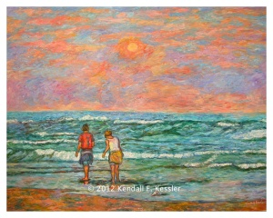 Two figures wading in green water with orange and blue sky