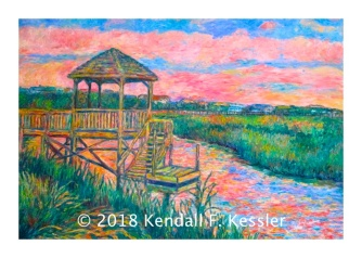 Wooden walkway over water with greens, pinks and blues