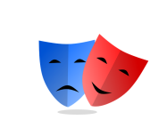 Masks representing theater (blue and red