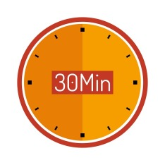 Round orange clock with sign saying 30 Min