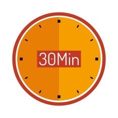 Round orange clock with sign saying 30 Min