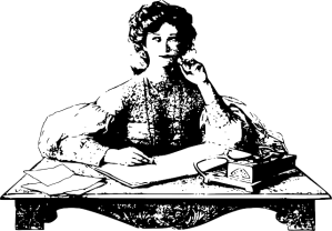 Old fashioned drawing of a woman at a writing table