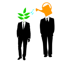 Cartoon of man watering can as head watering man with plant as head