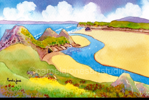 Paintng of a river running into a bay with three cliffs on the left
