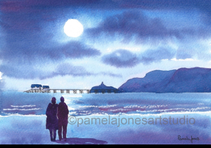 Painting of a couple looking over the water at the moon all in shades of blue
