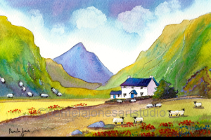 Painting of white cottage with blue roof with white sheep in a valley