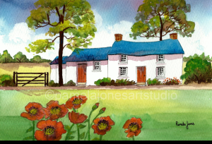 Painting of a white cottage with blue roof on a pale green field with poppies in the foreground