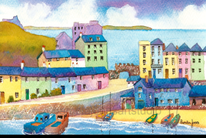 Painting of harbour with buildings behind in pink, blue, yellow, green pastels