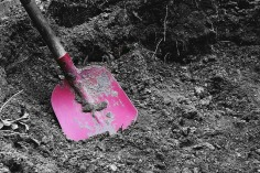 Pink shovel in grey dirt