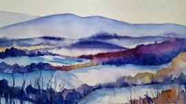 watercolor landscape with mountains in blues and purples